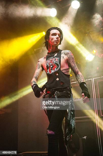 Andy Biersack of Black Veil Brides performs on stage during an intimate European tour rehersal show for fans at Electric Ballroom on March 15 2015 in...
