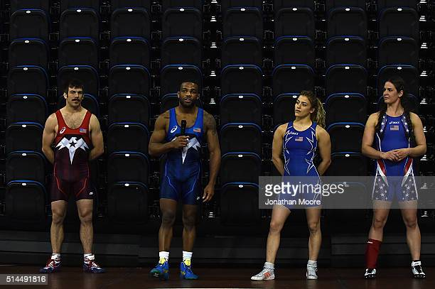 Andy Bisek Jordan Burroughs Adeline Gray and Helen Maroulis speak during the 2016 Team USA Media Summit at UCLA's Pauley Pavilion on March 8 2016 in...