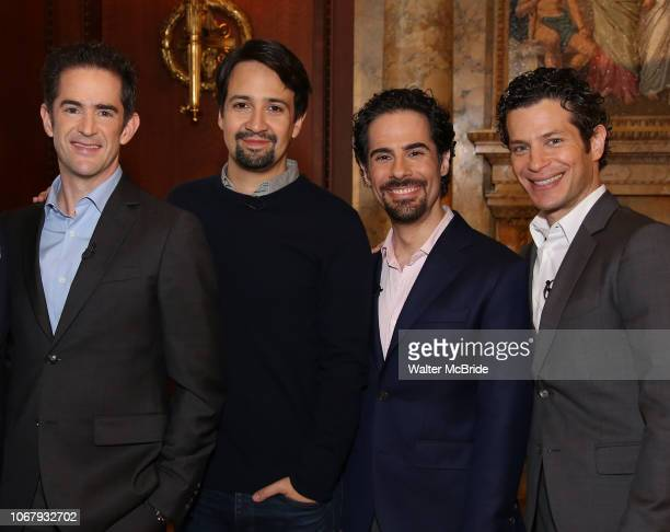 Andy Blankenbuehler, Lin-Manuel Miranda, Alex Lacamoire and Thomas Kail from the 'Hamilton' creative team during a CBS Morning News interview taping...