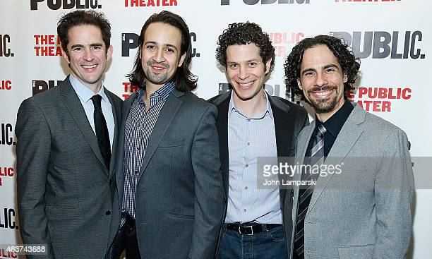"""Andy Blankenbuehler, Lin-Manuel Miranda , Thomas Kail and Alex Lacamoire attend """"Hamilton"""" Opening Night at The Public Theater on February 17, 2015..."""