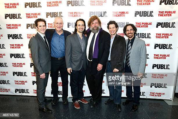 "Andy Blankenbuehler, Ron Chernow, Lin-Manuel Miranda , Oskar Eustis, Thomas Kail and Alex Lacamoire attend ""Hamilton"" Opening Night at The Public..."