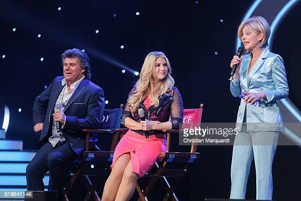 Andy Borg Beatrice Egli and Carmen Nebel perform on stage during the tv show 'Willkommen bei Carmen Nebel' at Tempodrom on April 7 2016 in Berlin...