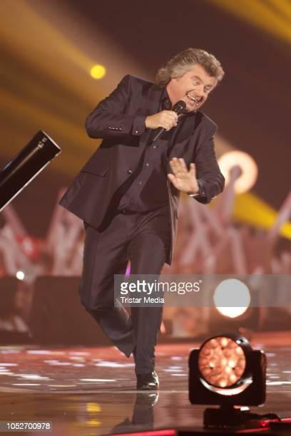 Andy Borg performs during the tv show 'Schlagerbooom 2018 - Alles funkelt! Alles glitzert!' at Westfalen Stadium on October 20, 2018 in Dortmund,...
