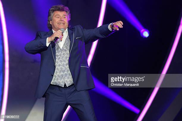 Andy Borg performs on stage during the tv show 'Willkommen bei Carmen Nebel' at Tempodrom on April 7 2016 in Berlin Germany