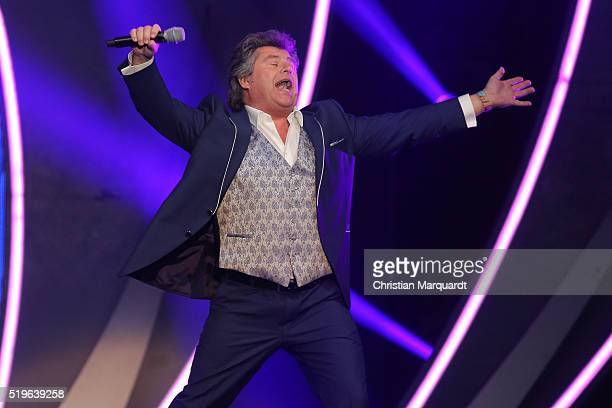 Andy Borg performs on stage during the tv show 'Willkommen bei Carmen Nebel' at Tempodrom on April 7, 2016 in Berlin, Germany.
