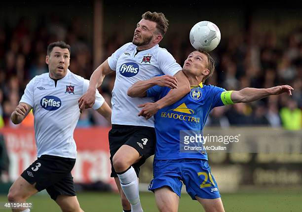 Andy Boyle of Dundalk heads clear from Vitali Rodionov of BATE Borisov during the Champions League 2nd round qualifying game at Oriel Park on July 22...