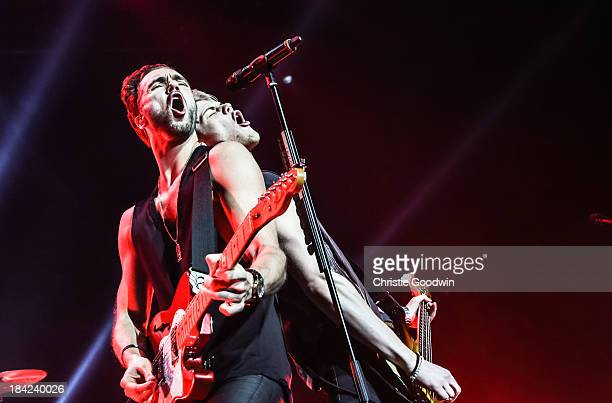 Andy Brown and Ryan Fletcher of Lawson perform on stage at The Roundhouse on October 12 2013 in London England