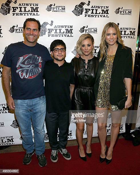 Andy Buckley Eli Vargas Kaley Cuoco and Cody Horn attend the world premiere of the new film Burning Bohdi at Paramount Theatre on November 1 2015 in...