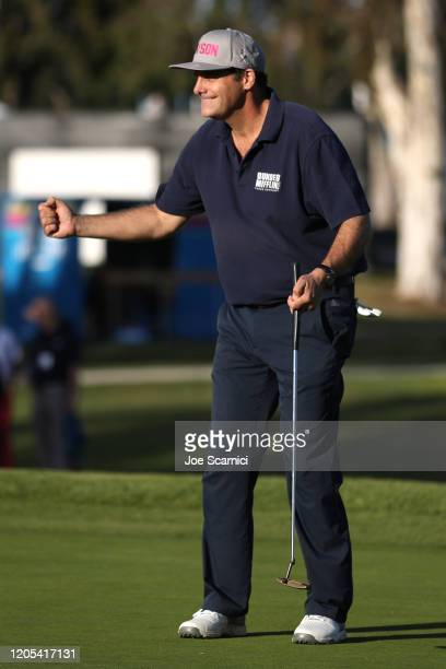 Andy Buckley reacts to a putt on the 15th green during the Celebrity Cup on February 10 2020 in Pacific Palisades California