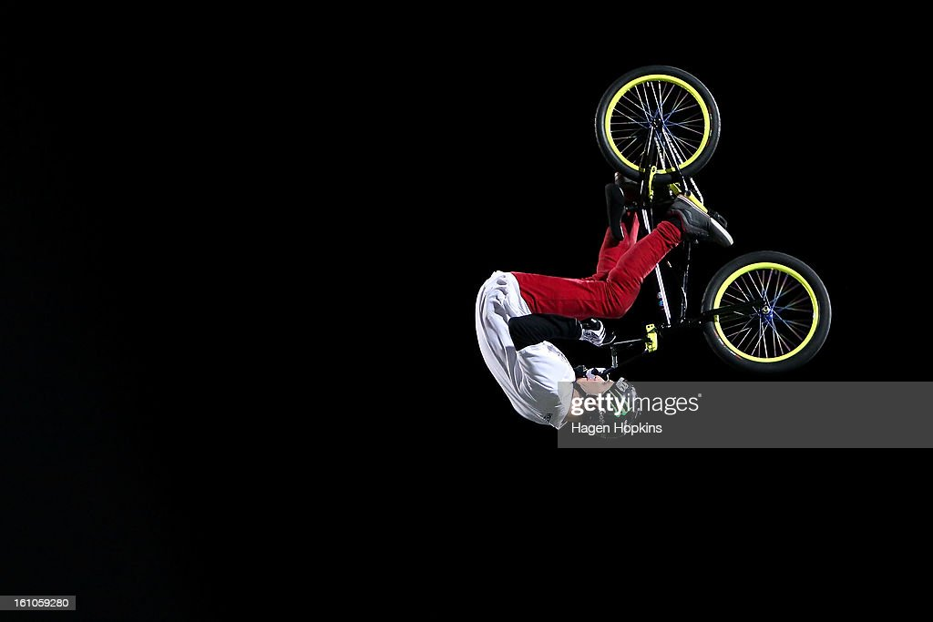 Andy Buckworth performs a BMX trick during Nitro Circus Live at Westpac Stadium on February 9, 2013 in Wellington, New Zealand.