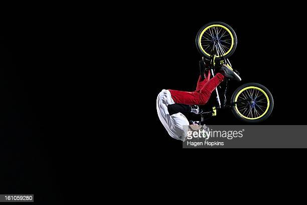 Andy Buckworth performs a BMX trick during Nitro Circus Live at Westpac Stadium on February 9 2013 in Wellington New Zealand