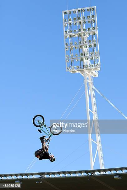 Andy Buckworth practices during the 2015 Nitro Circus preshow practice at Westpac Stadium on January 23 2015 in Wellington New Zealand