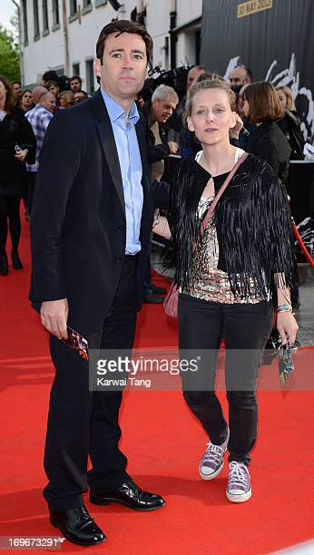 Andy Burnham and MarieFrance van Heel attend the World film premiere of The Stone Roses Made Of Stone at Victoria Warehouse on May 30 2013 in...