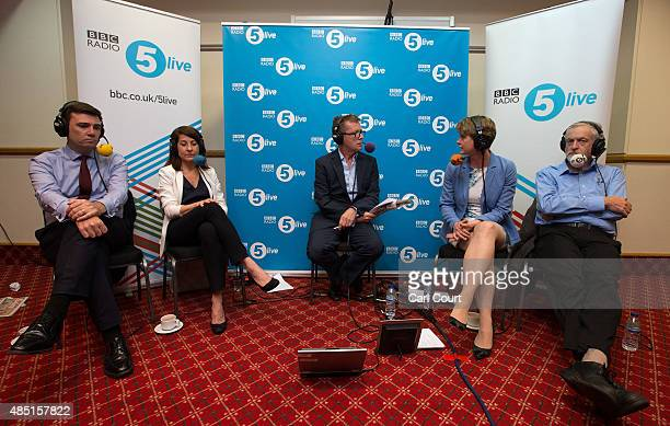 Andy Burnham, Liz Kendall, Yvette Cooper and Jeremy Corbyn take part in a radio hustings hosted by presenter Nicky Campbell on August 25, 2015 in...
