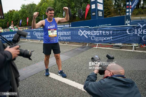 Andy Burnham, Mayor of Manchester poses for pictures at the start of the 40th Great North Run on September 12, 2021 in Newcastle upon Tyne, England....