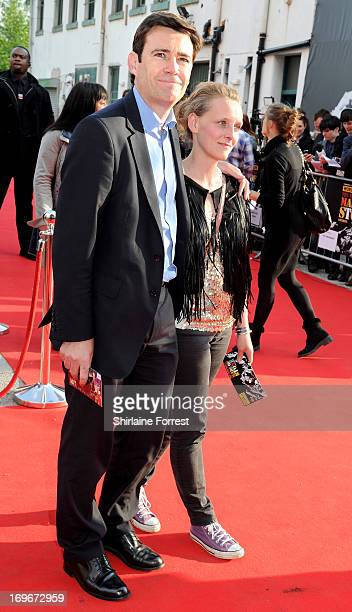 Andy Burnham MP and wife MarieFrance van Heel attend the UK film premiere of The Stone Roses Made Of Stone at Victoria Warehouse on May 30 2013 in...