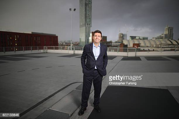 Andy Burnham MP poses for a portrait after the launch of the Labour party's campaign to elect him as Mayor of Greater Manchester at the HOME arts...