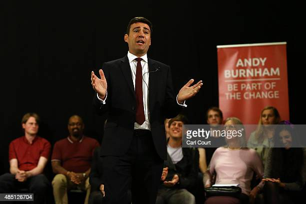 Andy Burnham speaks to supporters at a Labour leadership campaign rally on August 24 2015 in London England Candidates are continuing to campaign for...