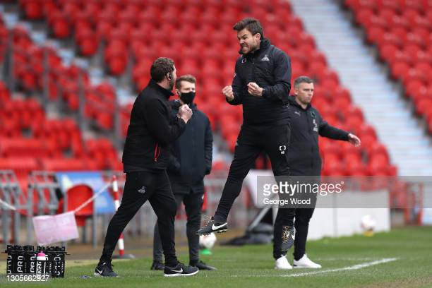 Andy Butler, Interim Manager of Doncaster Rovers celebrates after his side's second goal scored by Omar Bogle during the Sky Bet League One match...