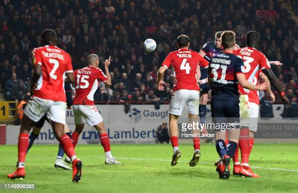 Andy Butler of Doncaster Rovers scores his team's second goal during the Sky Bet League One PlayOff Second Leg match between Charlton Athletic and...