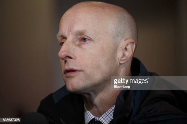 Andy Byford chief executive officer of the Toronto Transit Commission speaks to a member of the media during the opening of the TCC Line 1 extension...
