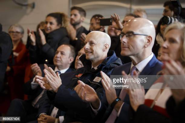 Andy Byford chief executive officer of the Toronto Transit Commission center applauds during the opening of the TCC Line 1 extension in Vaughan...