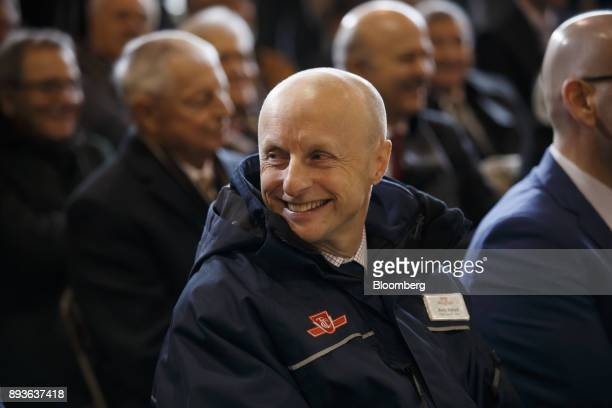 Andy Byford chief executive officer of the Toronto Transit Commission center smiles during the opening of the TCC Line 1 extension in Vaughan Ontario...