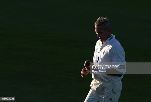 Andy Caddick of Somerset walks back to his mark during day three of the Liverpool Victoria County Championship Division 1 match between Somerset and...