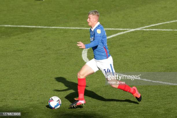 Andy Cannon of Portsmouth FC during the Sky Bet League One match between Portsmouth and Wigan Athletic at Fratton Park on September 26, 2020 in...