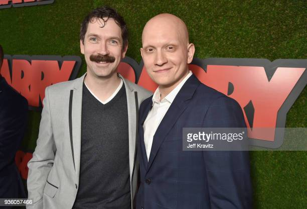 Andy Carey and Anthony Carrigan attend the premiere of HBO's 'Barry' at NeueHouse Los Angeles on March 21 2018 in Hollywood California