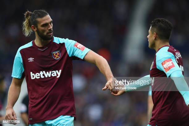 Andy Carroll and Chicharito of West Ham United during the Premier League match between West Bromwich Albion and West Ham United at The Hawthorns on...