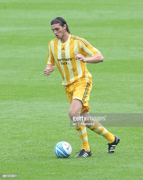 Andy Carroll during a preseason friendly match between Huddersfield Town and Newcastle United at the Galpharm Stadium on July 21 2009 in Huddersfield...