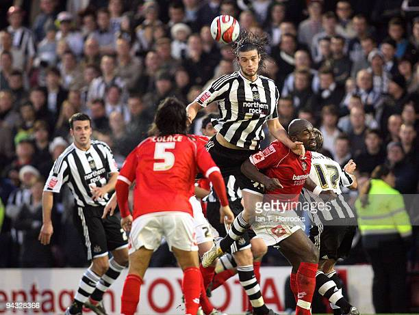 Andy Carroll in action during the CocaCola Championship game between Barnsley and Newcastle United at the Oakwell ground on December 12 2009 in...