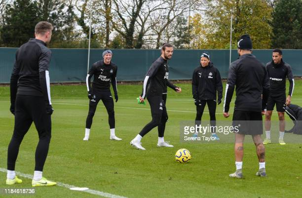 Andy Carroll in the middle of a game of boxes during the Newcastle United Training Session at the Newcastle United Training Centre on October 31,...