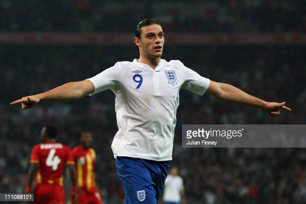 Andy Carroll of England celebrates as he scores their first goal during the international friendly match between England and Ghana at Wembley Stadium...
