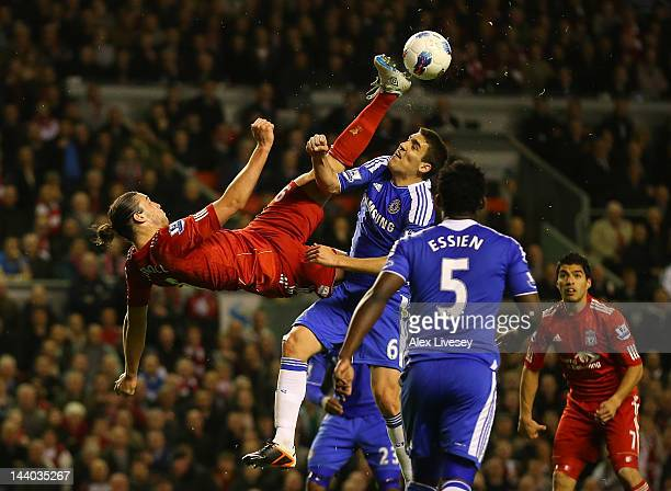 Andy Carroll of Liverpool attempts an over head kick during the Barclays Premier League match between Liverpool and Chelsea at Anfield on May 8 2012...