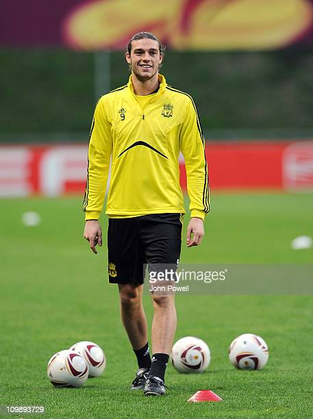 Andy Carroll of Liverpool attends a Liverpool training session ahead of their UEFA Europa League Round of 16 match against Braga at Estadio Municipal...