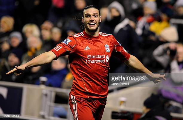 Andy Carroll of Liverpool celebrates after scoring the opening goal during the Barclays Premier League match between Wolverhampton Wanderers and...
