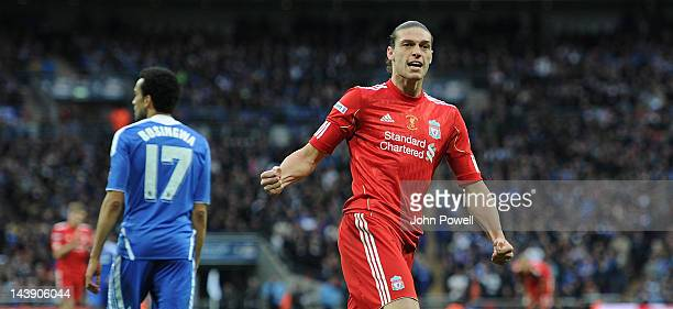 Andy Carroll of Liverpool celebrates his goal during the FA Cup Final match between Chelsea and Liverpool at Wembley Stadium on May 5 2012 in London...