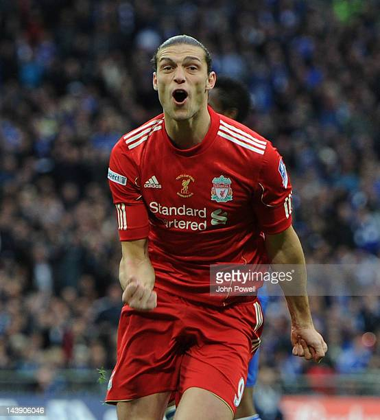 Andy Carroll of Liverpool celebrates his goal during the FA Cup Final match between Chelsea and Liverpool at Wembley Stadium on May 5, 2012 in...
