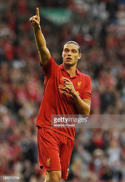 Andy Carroll of Liverpool celebrates his goal during the Pre Season Friendly between Liverpool and Bayer Leverkusen at Anfield on August 12 2012 in...