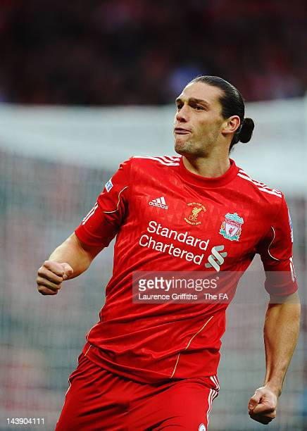 Andy Carroll of Liverpool celebrates scoring his side's first goal during the FA Cup Final with Budweiser between Liverpool and Chelsea at Wembley...