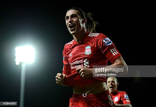 Andy Carroll of Liverpool celebrates scoring the winning goal during the Barclays Premier League match between Blackburn Rovers and Liverpool at...