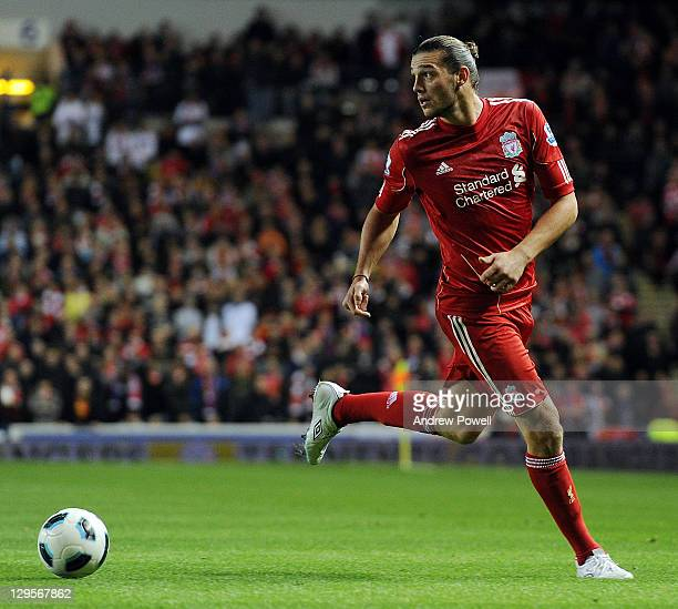Andy Carroll of Liverpool during a friendly between Rangers and Liverpool at Ibrox Stadium on October 18 2011 in Glasgow Scotland