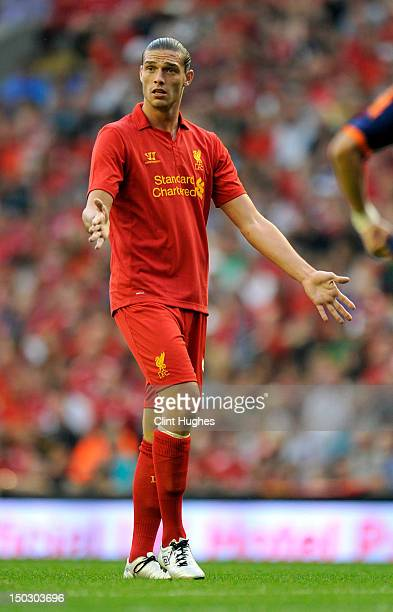Andy Carroll of Liverpool during the pre season friendly match between Liverpool and Bayer Leverkusen at Anfield on August 12 2012 in Liverpool...