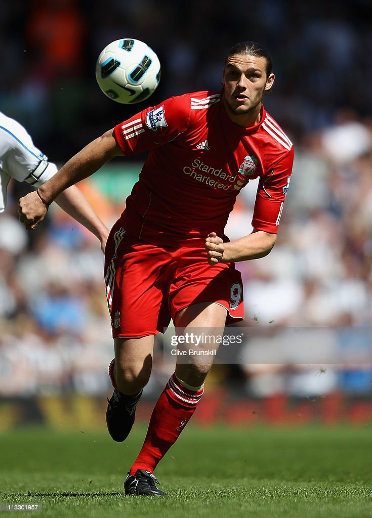 Andy Carroll of Liverpool in action during the Barclays Premier League match between Liverpool and Newcastle United at Anfield on May 1, 2011 in Liverpool, England.