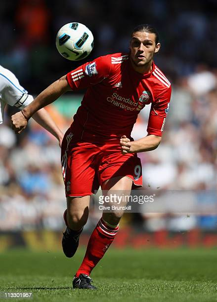Andy Carroll of Liverpool in action during the Barclays Premier League match between Liverpool and Newcastle United at Anfield on May 1 2011 in...