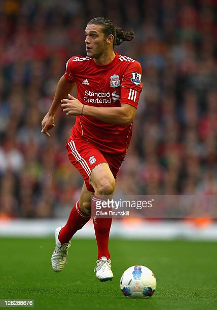 Andy Carroll of Liverpool in action during the Barclays Premier League match between Liverpool and Wolverhampton Wanderers at Anfield on September...
