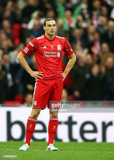 Andy Carroll of Liverpool looks on during the FA Cup with Budweiser Final match between Liverpool and Chelsea at Wembley Stadium on May 5 2012 in...