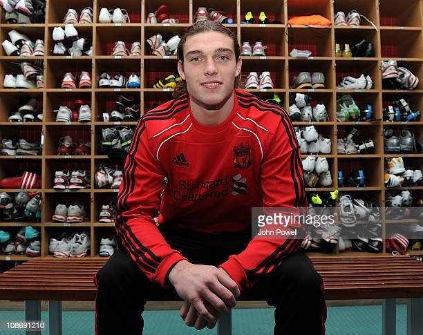 Andy Carroll of Liverpool poses for a portrait in the boot room at Melwood training ground on February 1 2011 in Liverpool England